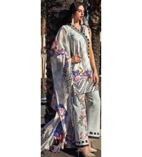 Gray And White Beautiful Embroidered Linen Unstitched Suit With Wool Shawl