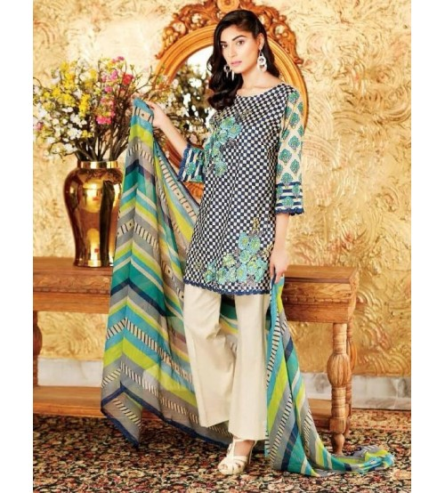 Unstitched Lawn Suit with Shifoon Dupatta Neck, Daman Embroidered.
