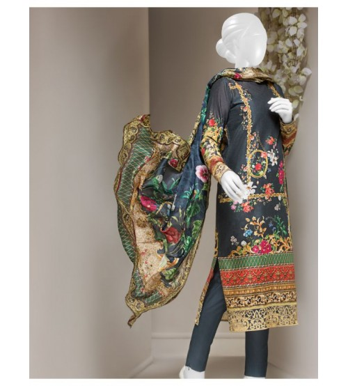 Gray Lawn embroidered Suit with Plan trouser