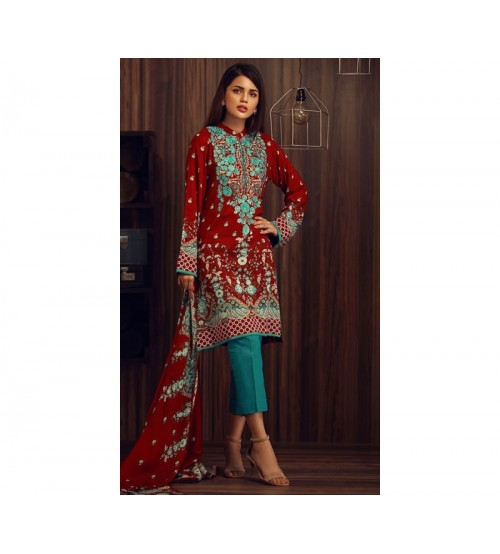 Red Lawn Suit With Dark ferozy Trousar