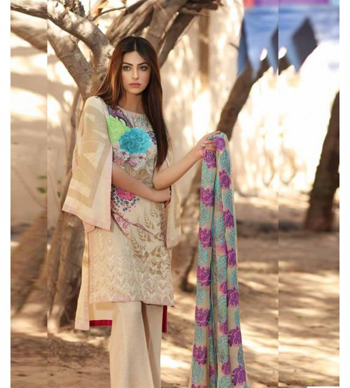 Lawn Suit Neck Printed Daman Embroidered