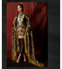 Black Printed Lawn Suit For Women's