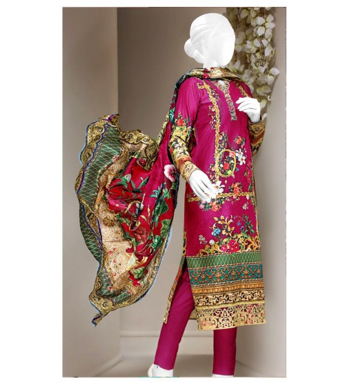 Pink Printed Lawn Embroidered Suit with Plain trouser