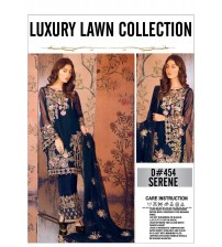 Blue Luxury Embroidered Lawn Suit  3 Piece