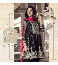 Black Fancy Chiffon Embroidered Suit