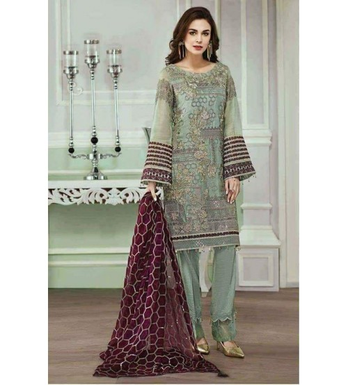 Embroidered  Chiffon Fancy Party Wear Suit