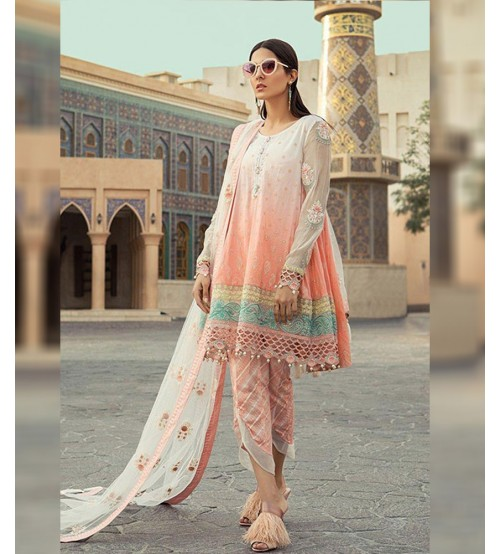 3Pcs Printed With Embroidered  Lawn Suit - Unstitched