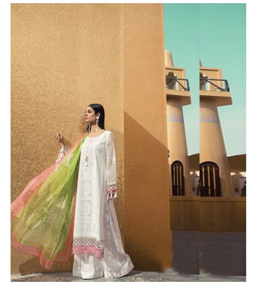 Lawn Suit With Brosha Dupatta Neck Embroidered