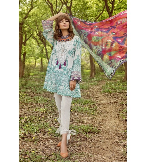 Lawn Suit Double Head Neck Embroidered