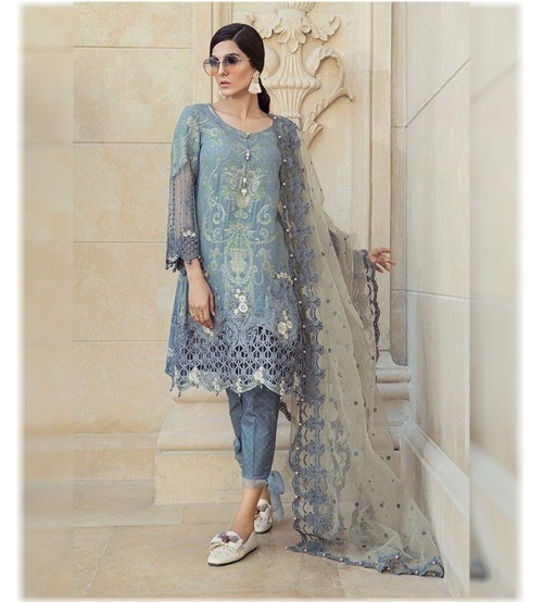 Lawn Suit With Brosha Dupatta Daman Patch