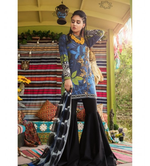 Lawn With Chiffon Dupatta Neck Embroidered