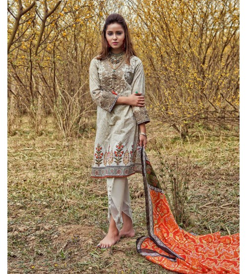 Women Lawn Black Suit Neck Embroidered EID Collation
