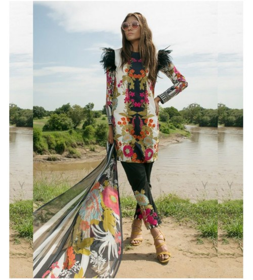 Lawn Suit With Brosha Dupatta