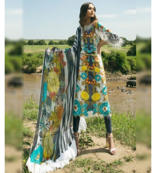 Beautiful Lawn Suit With Brosha Dupatta