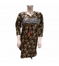 BLACK FANCY PRINTED LAWN  STITCHED KURTIS