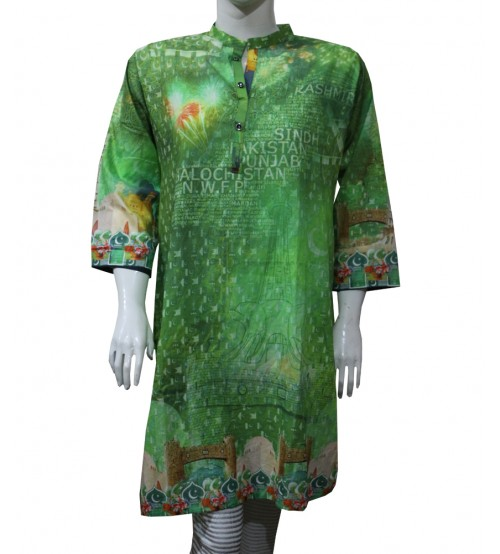 14 August Green cotton Kurti for girls