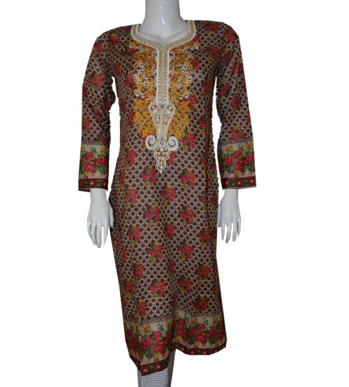 Neck Embroidered Lawn Kurta For Girls