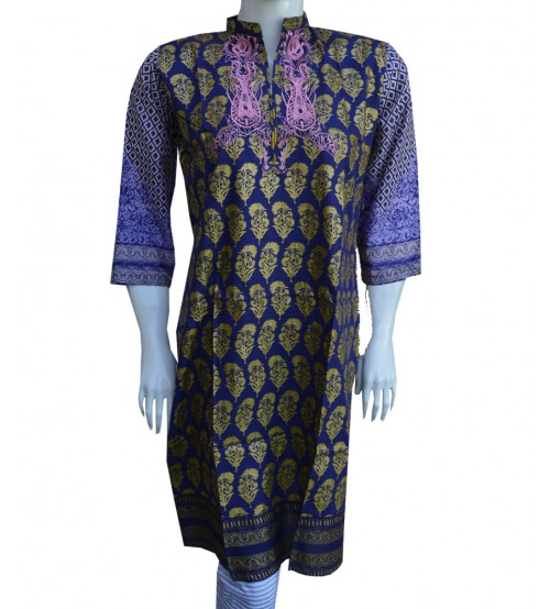 Lawn Kurta For Women Neck Embroidered & Printed