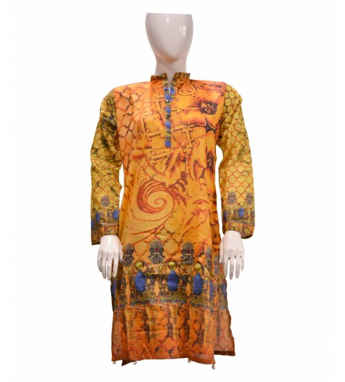 Stitch Orange Printed  Kurti For Women