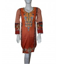 Orange Lawn Kurta For Girls