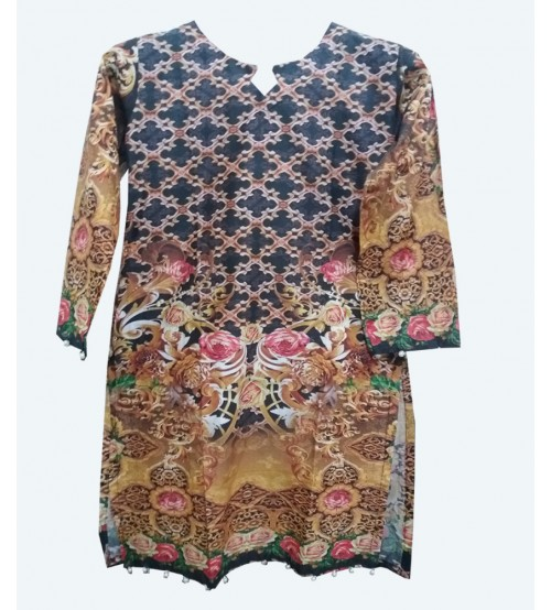 Lawn Kurta For Girls Front Back Printed