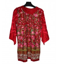 Red  Lawn Stitched embroidered Kurta