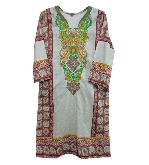 Girls Lawn Kurtis Neck Embroidered