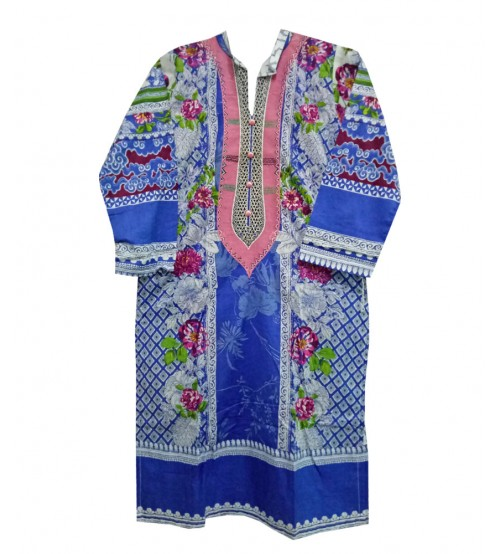 Beautiful Blue Color Flower Lawn Kurtis For Girls