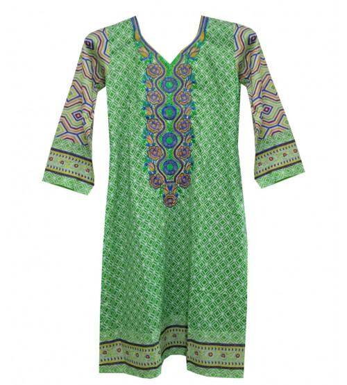 Printed & Neck Embroidered Lawn Kurtis For Girls