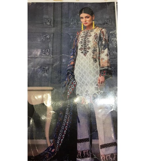 Embroidered Lawn Suit With Chiffon Duppta