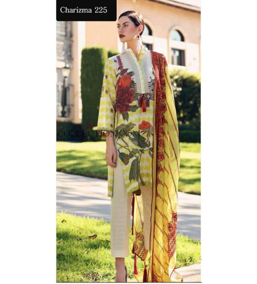 3 Pc Lawn Suit With Chiffon Duptta