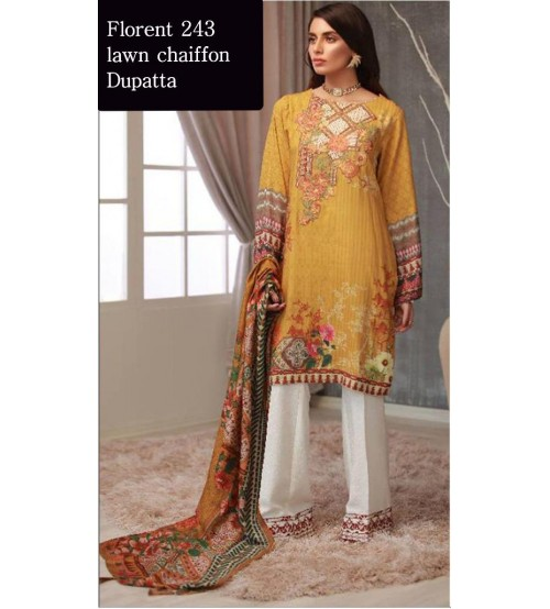 Embroidered Lawn Suit  With Chiffon Duptta