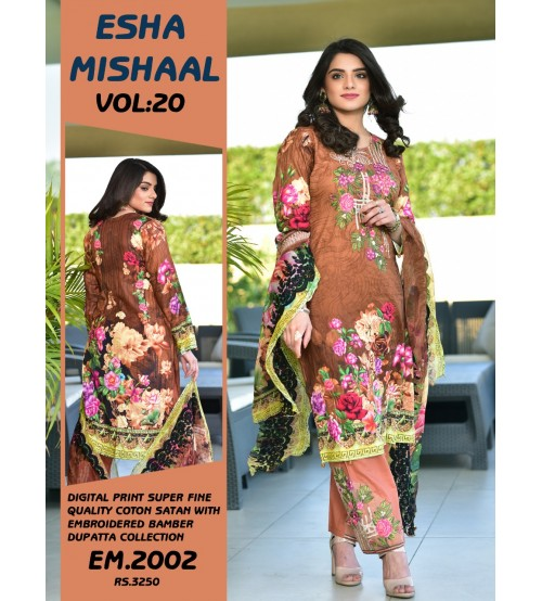 Digital Printed Lawn Suit With Chiffon Duptta