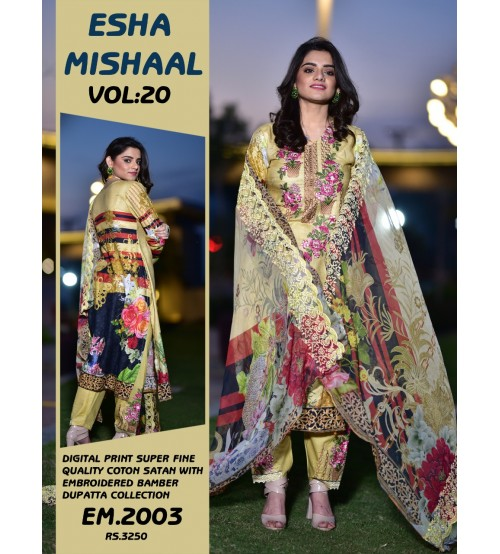 New Stylish Digital Printed Lawn Suit With Chiffon Duptta