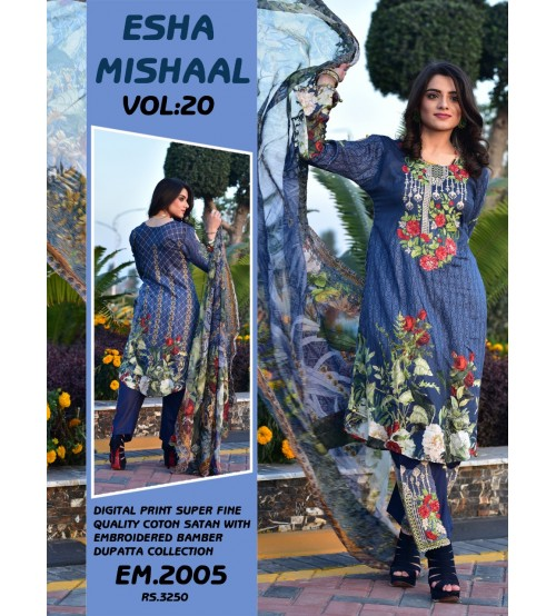 Stylish Digital Printed Lawn Suit With Chiffon Duptta