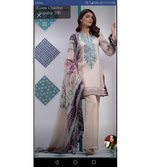 Embroidered Lawn Suit In Khaddi With Chiffon Duptta