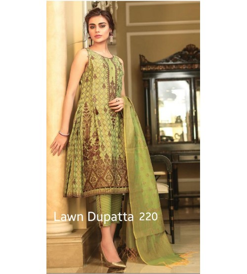 Stylish Embroidered Lawn Suit With Chiffon Duptta