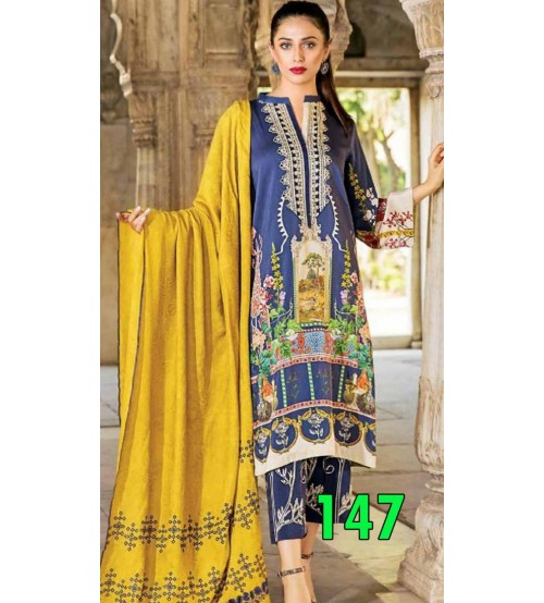 Stylish Lawn Suit With Chiffon Duptta