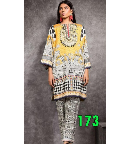 Embroidered Unstitched Lawn Suit with Chiffon Duptta