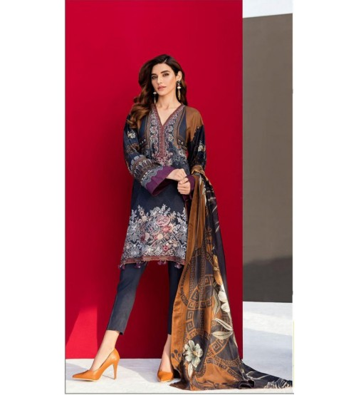 Grey Swiss Lawn Suit With Chiffon Duptta