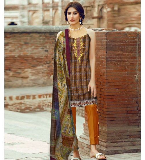 Brown and Balck Lawn Suit with plain Trouser