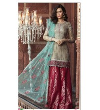 Unstitched Embroidered Lawn suit With brosha Dapata