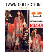 Embroidered unscratched Lawn Suit with Brosha dupatta for girl