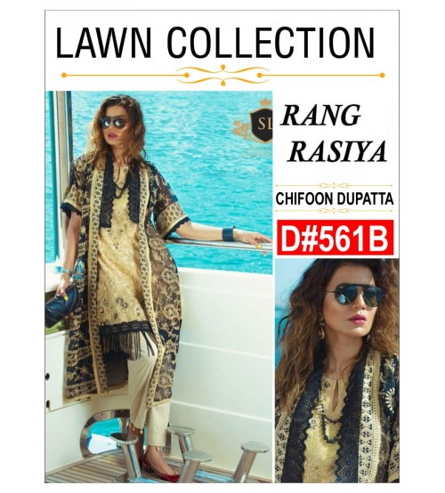 3 pieces Chiffon dupatta  Embroidered Lawn Suit