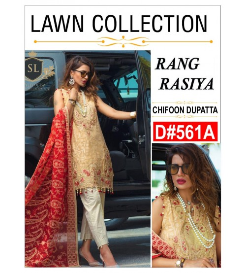 Chiffon duppata Unstitched Embroidered Lawn Suit
