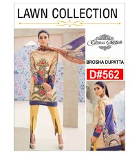 Unstitched Embroidered Lawn Suit With Brosha Duppata