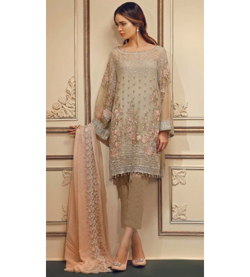 Fully Embroidered Front Lawn luxury Suit With Chiffon Dupatta