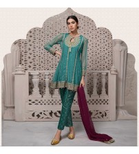 Party Dress with embroidered duppatta and Jamawar Trouser
