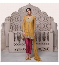 Chiffon suit with embroidered duppatta with 4 sided kiran lace
