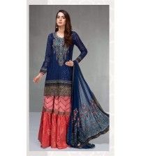 Chiffon suit with embroidered duppatta and fancy trouser